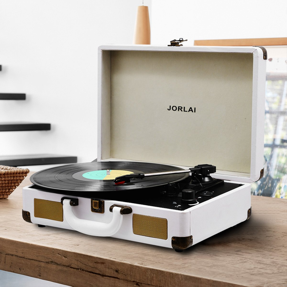 Vinyl Record Player Jorlai Turntable 3 Speed Bluetooth Speaker Marine Vm 602 Suitcase With Built In Speakers Rechargable Battery To Mp3