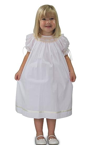 d98d8b99e Strasburg Children Little Girls' Pearl Smocked Dress Flower Girl White ...