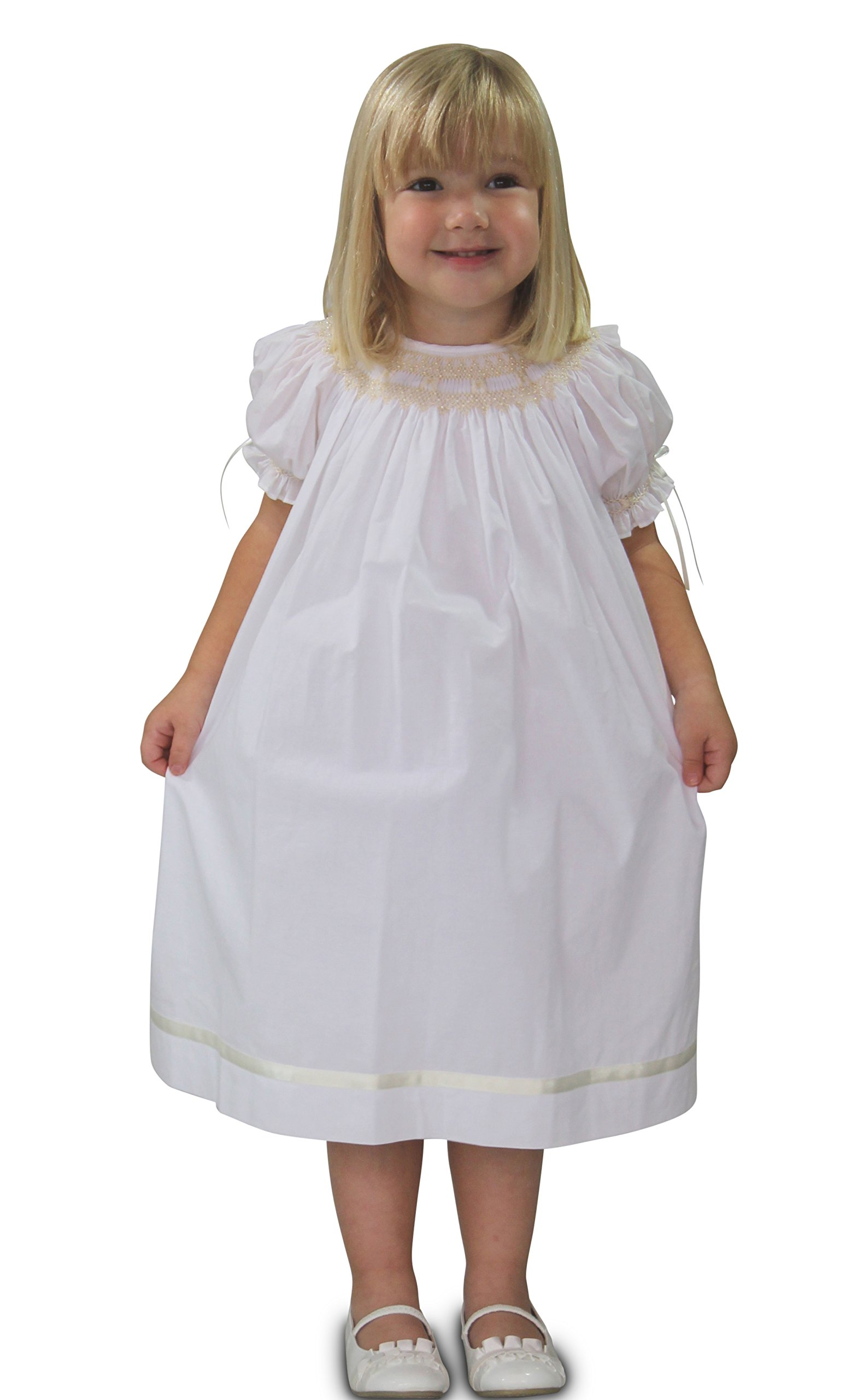Strasburg Children Little Girls Toddler Pearl Smocked Dress Flower Girl White (3)