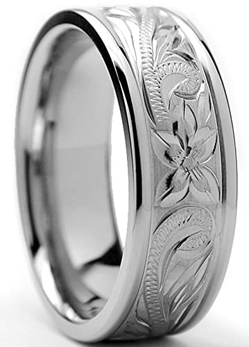 8MM Titanium Ring Wedding Band With Engraved Floral Design Size 7