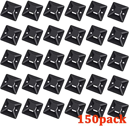 Cable Tie Base Self Adhesive 20mm x 20mm Pack of 10 Black