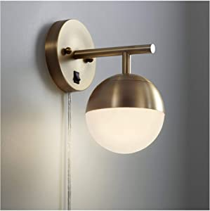 Luna Mid Century Modern Wall Lamp Antique Brass Plug-in Light Fixture Frosted Glass Globe Shade for Bedroom Bedside Living Room Reading - 360 Lighting