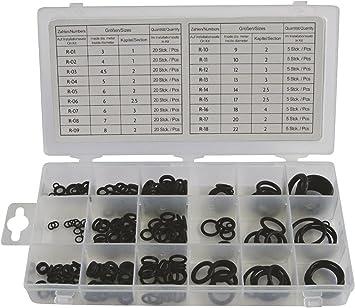 t Dichtungsringe 3-22mm Durchmesser O-Ring Sortiment Gummi schwarz 225 teilig
