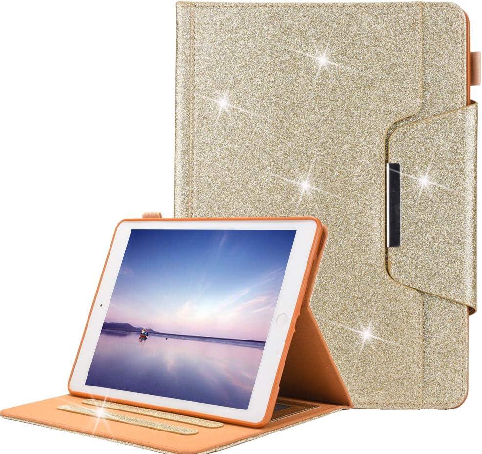 Air Glitter Bling Cover in Pelle Portafoglio TPU Supporto con Auto Sveglia//Sonno per Apple iPad 9.7 2018//2017 Air 2 A-BEAUTY iPad 9.7 2018 Custodia con Porta Penna iPad PRO 9.7 Lucente Oro