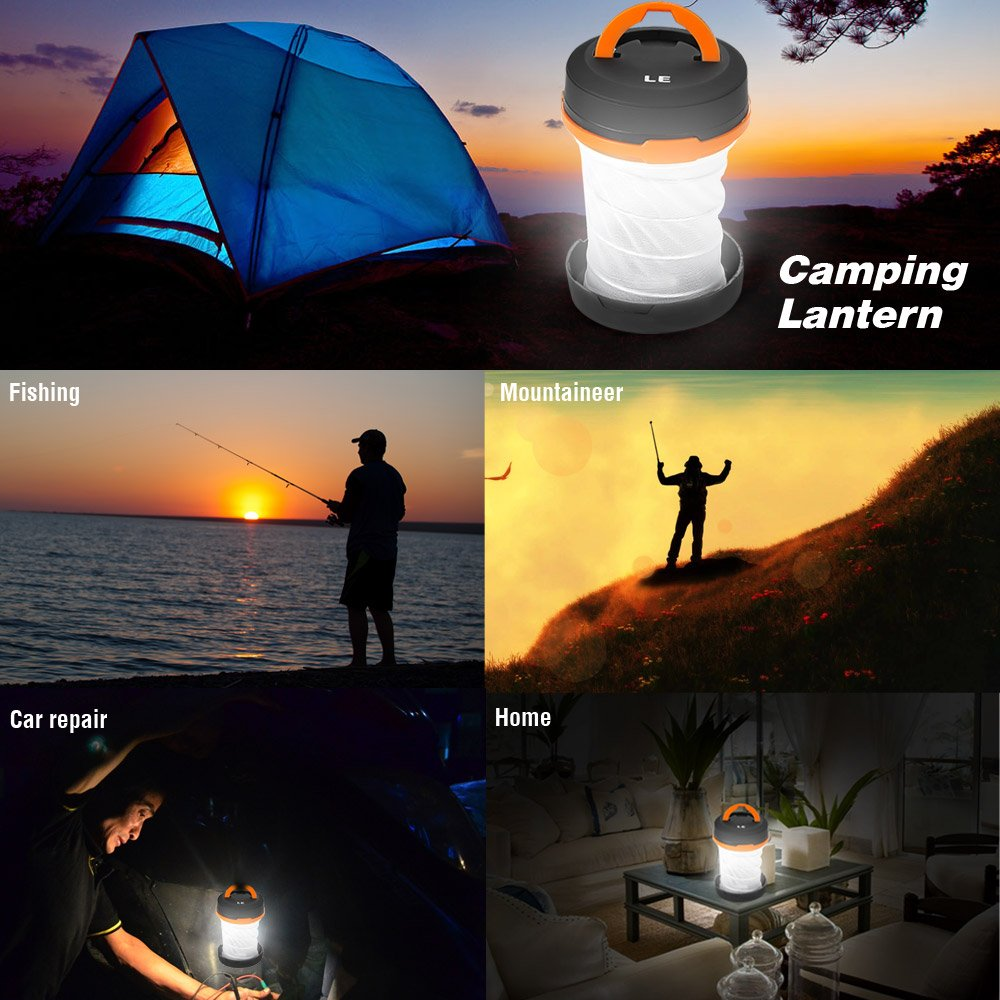 Amazon.com : LE Portable LED Lantern Collapsible Camping Light 3 ...