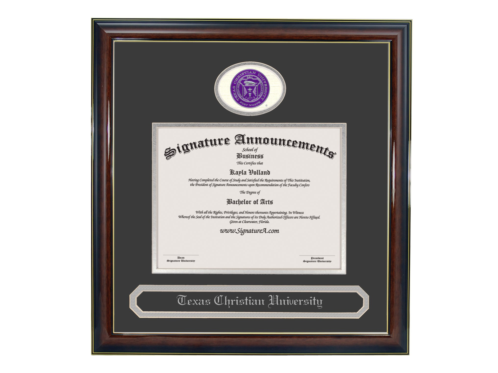 Signature Announcements Texas Christian University (TCU) Undergraduate and Graduate/Professional/Doctor Graduation Diploma Frame with Sculpted Foil Seal & Name (Gloss Mahogany w/Gold Accent, 16 x 16) by Signature Announcements