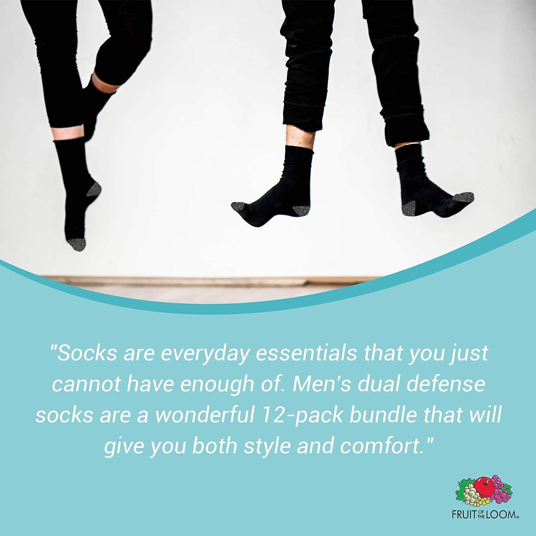 Black//Grey Fruit of the Loom Mens Big and Tall Dual Defense Crew Socks 12 Pair Shoe Size 11-15