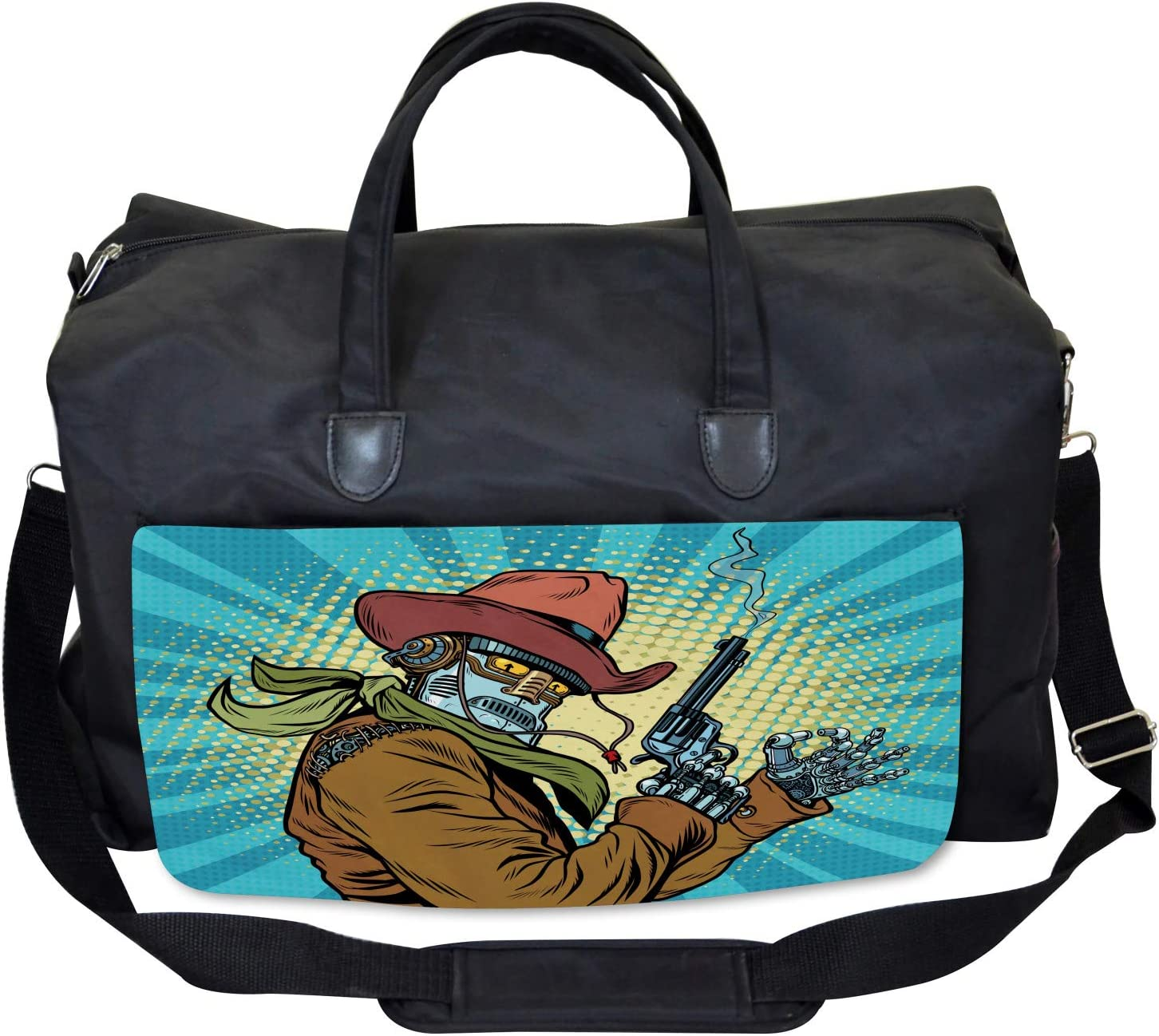 Large Weekender Carry-on Western Style Robot Cowboy Ambesonne Blue Gym Bag