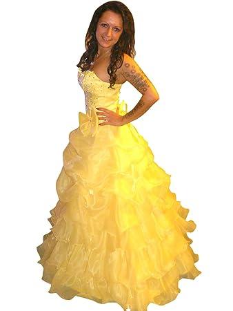 KR08 Vestido de ensueño para baile de carnaval con corona para gala. Talles 38 en amarillo.: Amazon.es: Juguetes y juegos