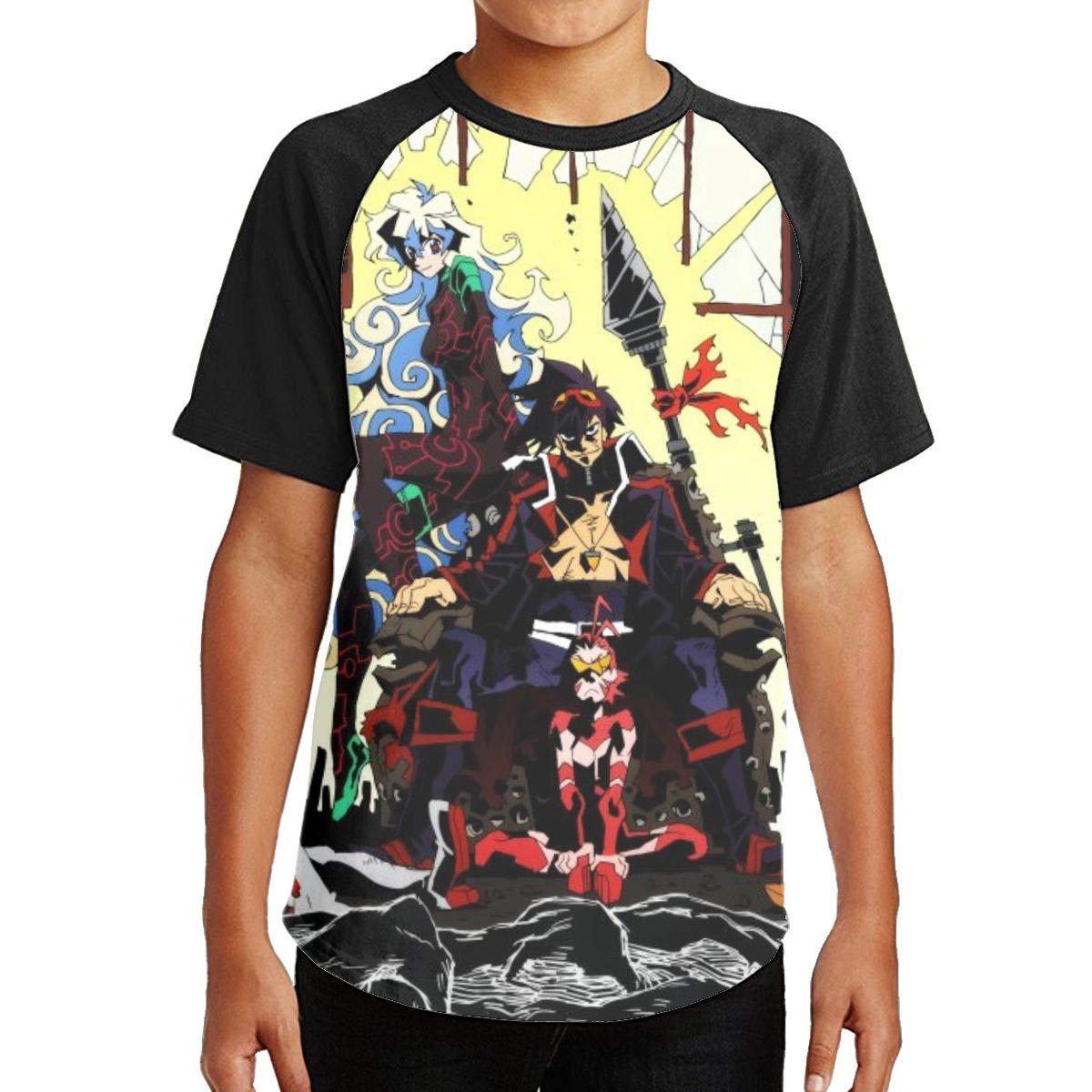 KkdsKkds Gurren Lagann Youth Tee Shirt Tshirt for Girls Boys Round Neck Short Sleeve