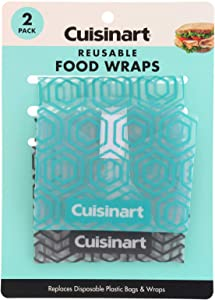 Cuisinart Reusable Plastic Wrap for Food, 2 Pack – Replaces Disposable Plastic Bags and Wraps – Great for Sandwiches, Snacks, Cut Fruits, Veggies and More – Circular, 13 Inch Circumference