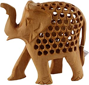 CWL Elephant with Baby Inside Hand Carved Statue-Home Decor Clearance-Mom Birthday Gifts from Daughter-for Living Room-Wood Carved Animal Sculptures Statues and Figurines Collectibles-Good Luck Charm