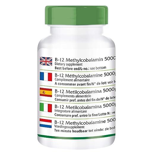 fairvital - 90 comprimidos de metilcobalamina B12 - Altamente concentrada (5.000 µg): Amazon.es: Salud y cuidado personal