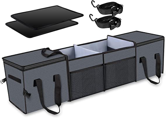 Heavy Duty Collapsible Trunk Storage Organizer for Car or Van Knodel Sturdy Car Trunk Organizer with Premium Insulation Cooler Bag SUV 2 Compartments, Black Truck