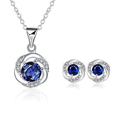 4533a4b5bacb LDUDU® Conjunto Joyas Mujer Diseño clasico con cristales austriacos Azul  marino chapado en Oro blanco incluye Collar Colgante y Pendientes Original  Regalo ...