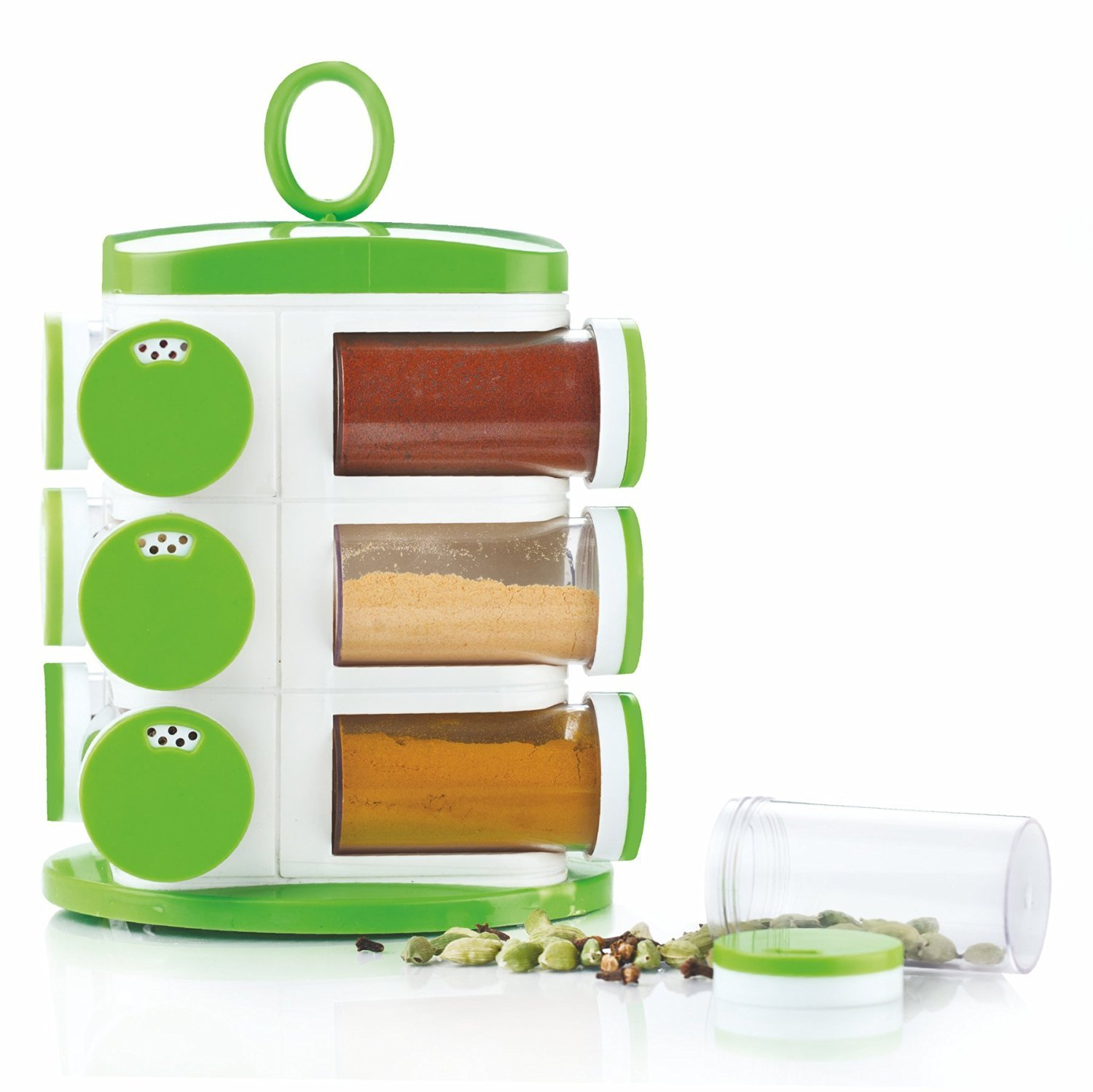 Jony Multipurpose Revolving Spice Rack 12 Piece Condiment Set - Green JSR01