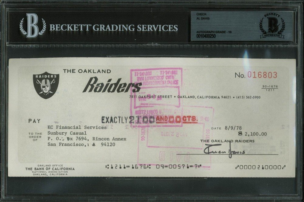 Autographed Raiders Al Davis Signed 3.5X8.5 Check Dated 8/9/78 SignatureGraded 10 Beckett Certified