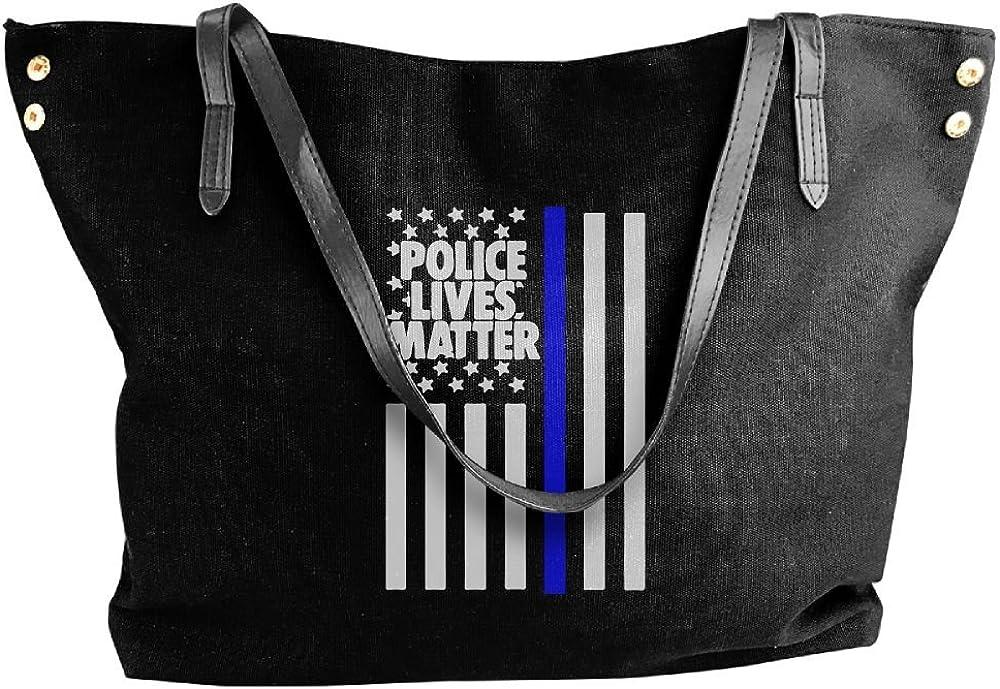 Womens Canvas Shoulder Bag,Police Lives Matter Fashion Top Handle Bag For Women