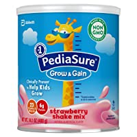 PediaSure Grow & Gain Non-GMO Shake Mix Powder, Nutritional Shake For Kids, With Protein, DHA, Antioxidants, and Vitamins & Minerals, Strawberry, 14.1 oz, 3 Count
