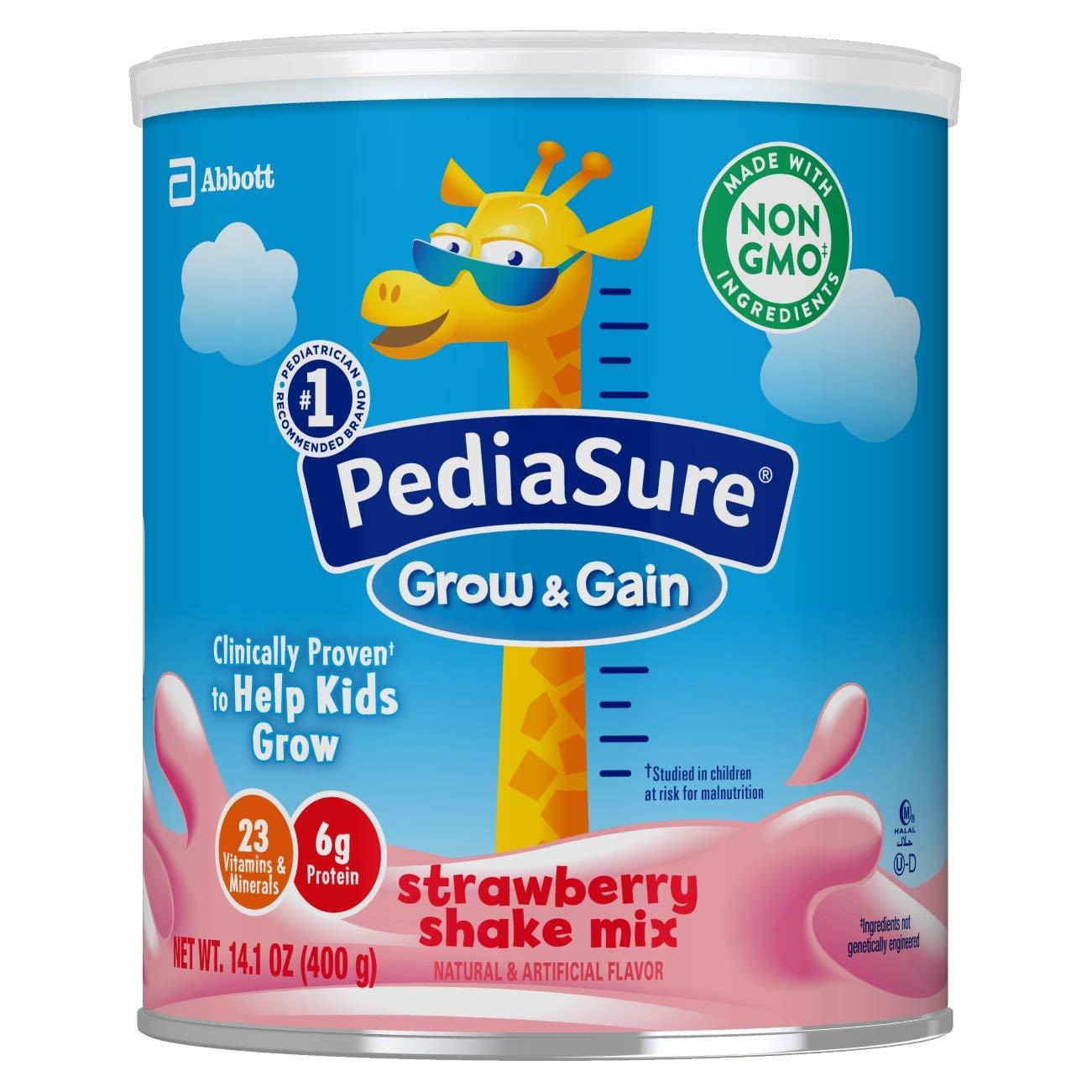 PediaSure Grow & Gain Non-GMO & Gluten-Free Shake Mix Powder, Nutritional Shake For Kids, With Protein, Probiotics, DHA, Antioxidants*, and Vitamins & Minerals, Strawberry, 14.1 oz, 3 Count