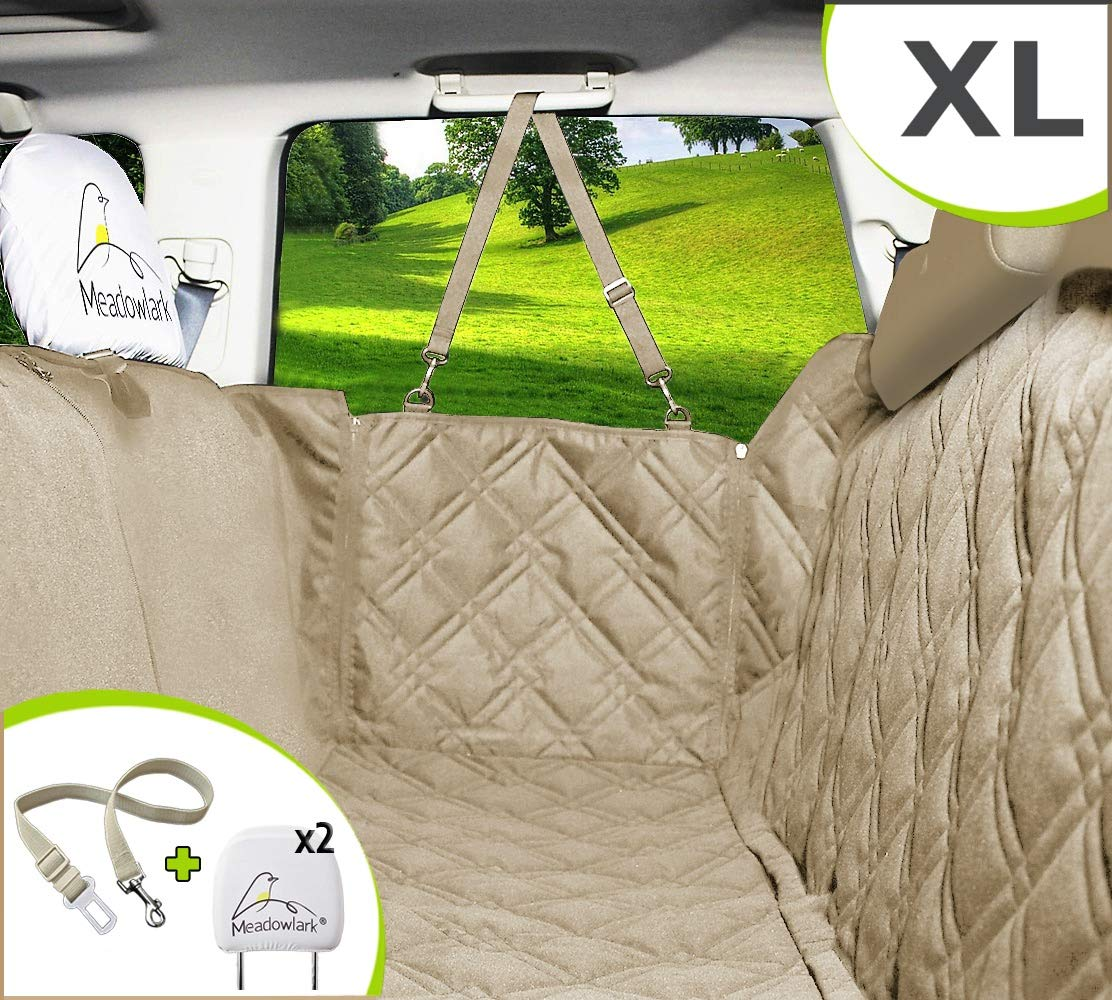 Meadowlark-Dog-Seat-Covers-Unique-Design-Full-Car-Protection-DoorsHeadrests-Backseat-Extra-Durable-Zippered-Side-Flap-Waterproof-Pet-Seat-Cover-Seat-Belt-2-Headrest-Protectors-as-a-Gift