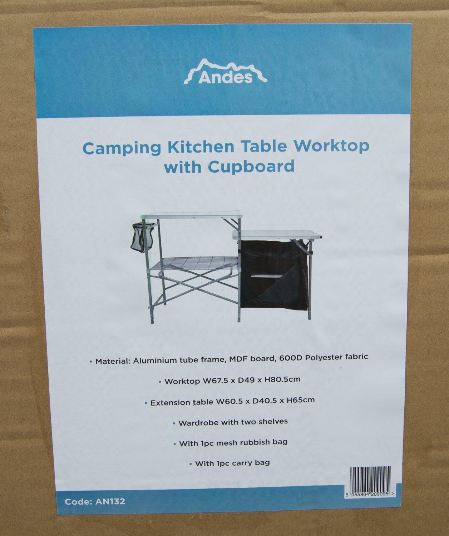 Campingk/üche Tisch mit Arbeitsfl/äche und Staufach Andes