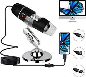 USB Digital Microscope, 8 LED Lights 40X-1000X Zoom Microscope Camera, with OTG Adapter and 360° Metal Bracket, Compatible with Mac, Android, Window 7 8 10 (Black)