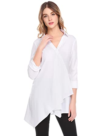 f9a51989 SoTeer Women's Casual Long Sleeve Crossover Button Up Irregular Hem  Collared Shirt at Amazon Women's Clothing store: