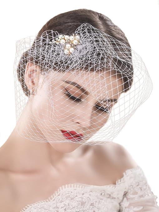 7cec95ab45 handcess boda bridcage velo con brillantes adornos peine flores tocado de  malla corto Colorete velo para