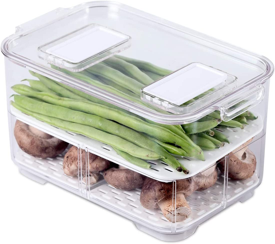 AJY Produce Keeper with Strainer, Stackable Refrigerator Containers, Simplify Refrigerator Organization, Save Fresh Fruits and Vegetables, 1 Piece (9.17