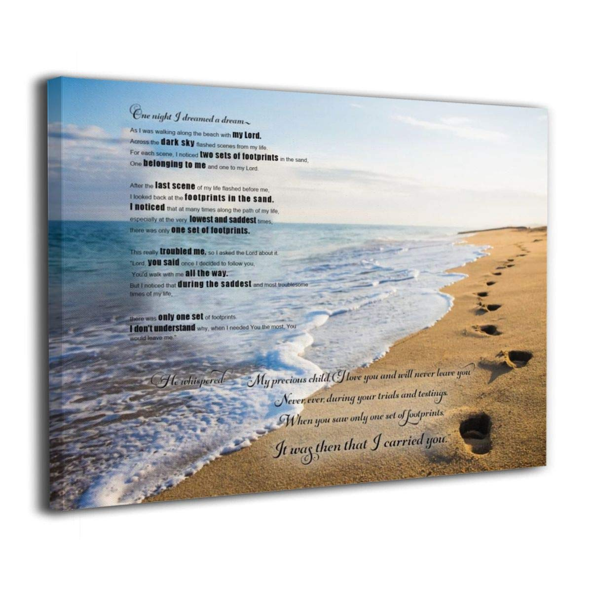 It is a picture of Footprints in the Sand Poem Printable in white