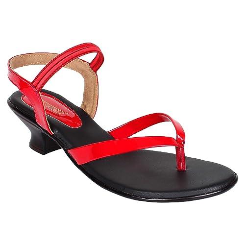 red heeled sandals uk