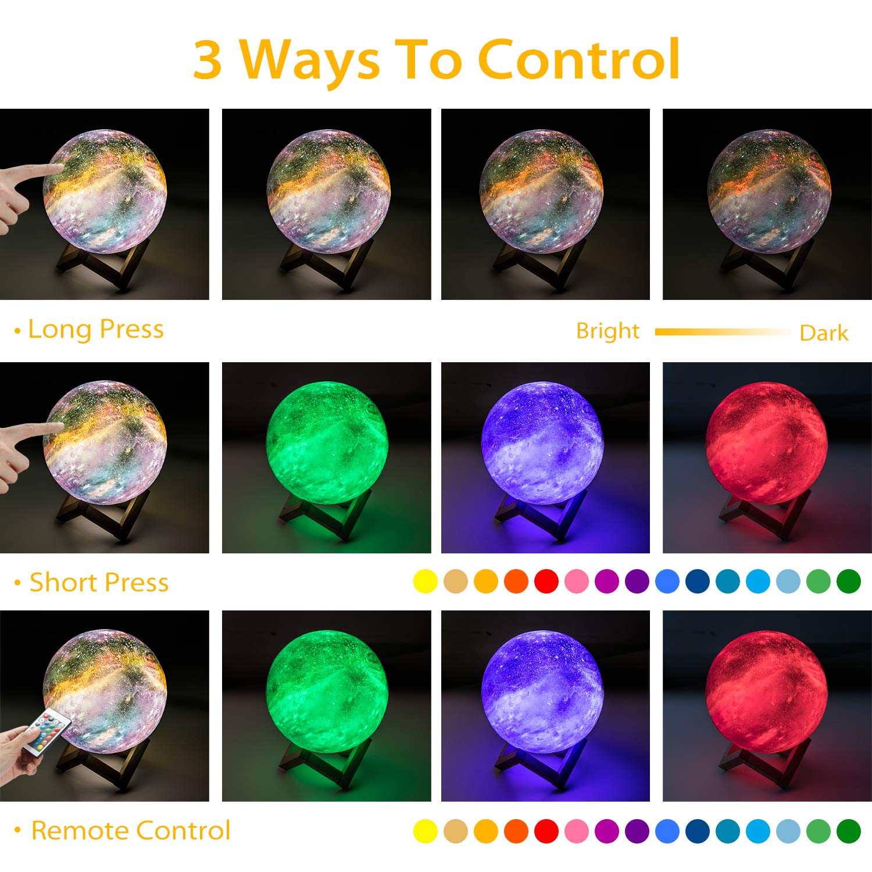 OxyLED 18cm Brillo Regulable 16 Colores RGB Recargable USB Control remoto y Control t/áctil LED Lunar Luz Nocturna Decorativa para Dormitorio Sal/ón Regalo para Mujeres y Ni/ños L/ámpara Luna 3D