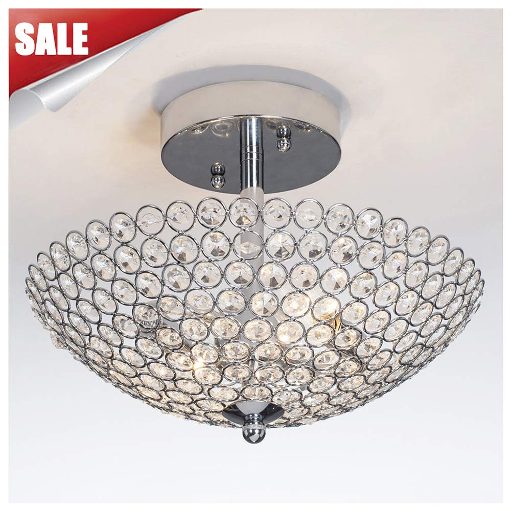 GLANZHAUS Hight Quality Mini Style Bowl Shaped Flush Mount Ceiling Fixture Chrome Finish Crystal Chandelier, Ceiling Light 11.8 Inches for Living Room Bedroom Dinning Room
