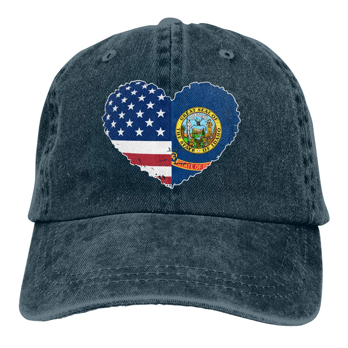 PMGM-C Idaho State USA Flag Heart Unisex Personalize Denim Outdoor Sports Hat Adjustable Baseball Cap