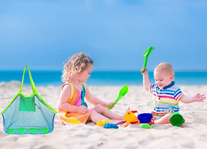 COOLGOEU Grande Bolsa de Playa de Malla para al Aire Libre Natación Piscina Viajes Toallas Juguetes Aléjate de la Arena y el Agua,Organizador de Bolso Tote ...