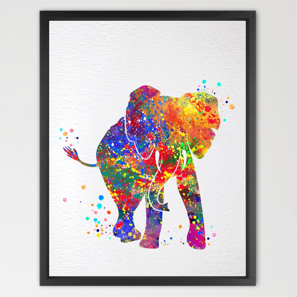 Dignovel studios 11x14 baby elephant trunk up for Hanging kids artwork