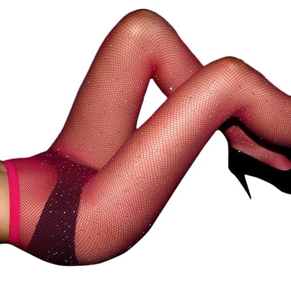 2ef386352 Eliffete Fishnet Stockings Fuschia Sparkle Rhinestone Pantyhose Club Slim  Tights