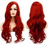 Baruisi Long Curly Wavy Red Wigs for Women Side Part Natural Looking Cosplay Synthetic Fiber Wig Heat Resistant…