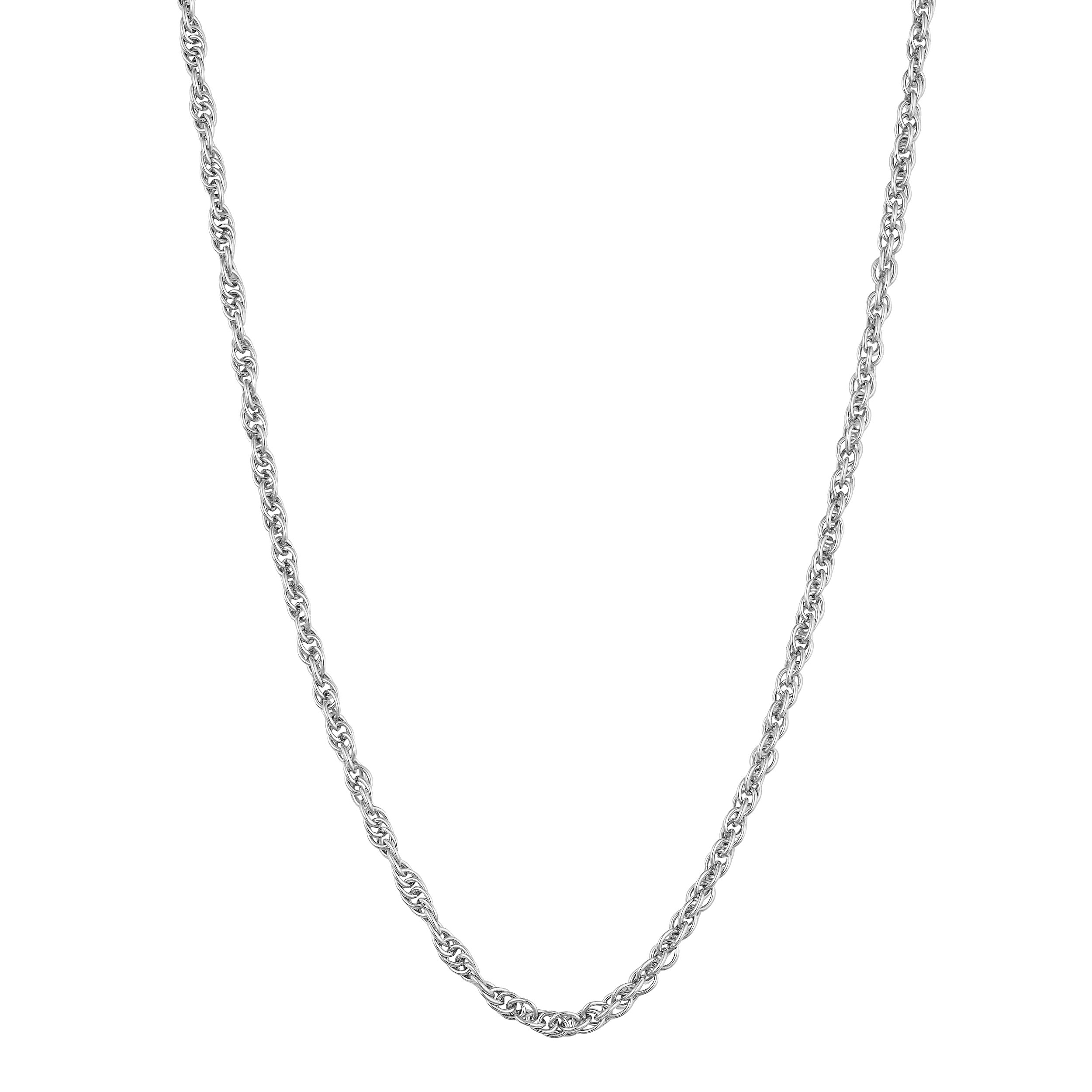 14k White Gold 1.4mm High Polish Cordina Rope Chain (18 inch)