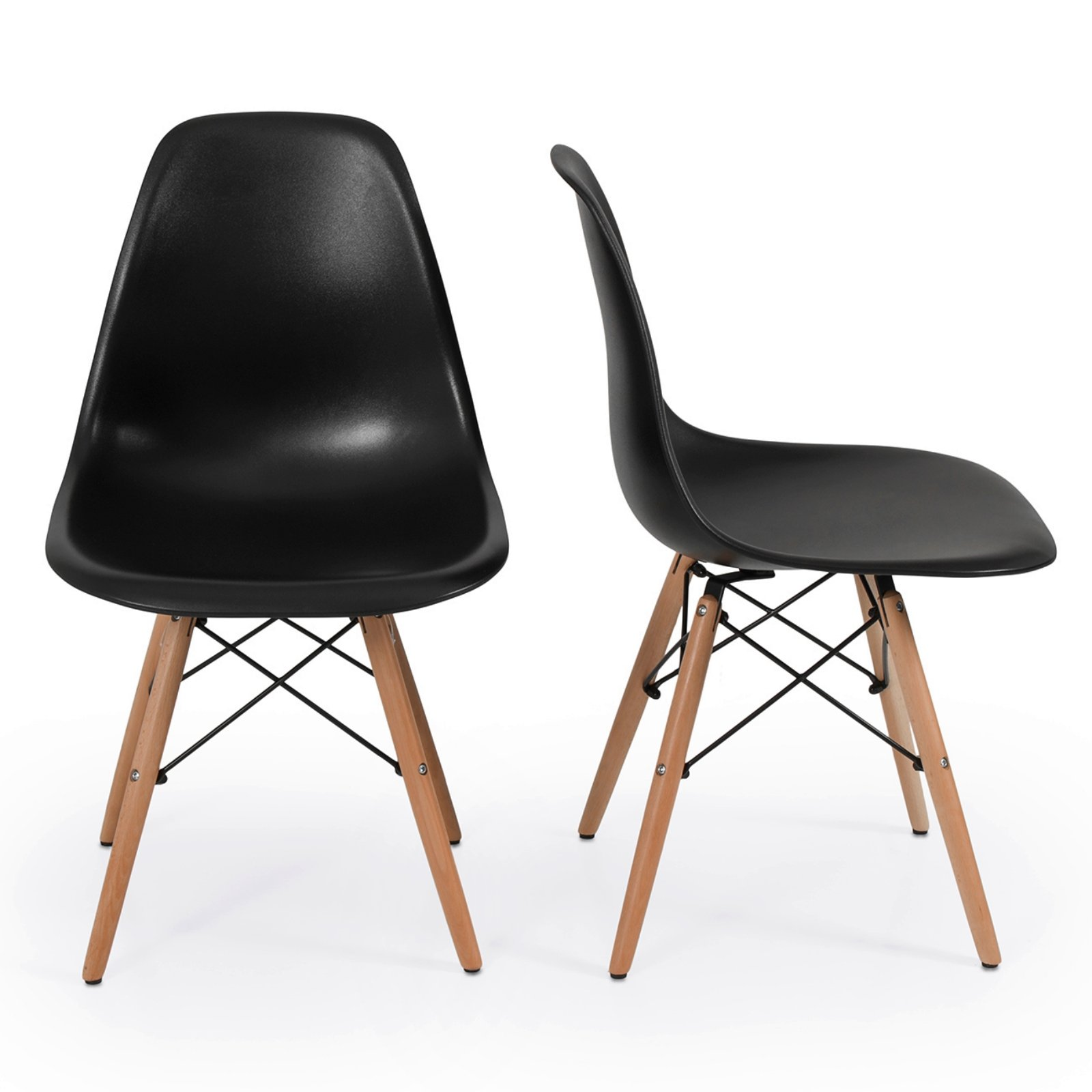 Set of 2 Retro Style Wood Base Mid Century Modern Shell Dining wooden Chair Dowel legs Black #566