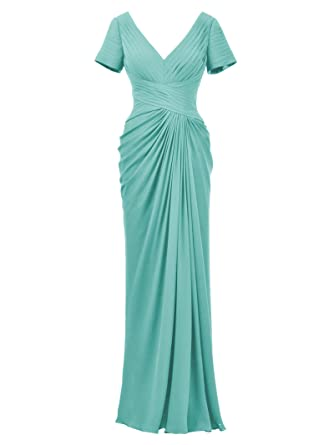 Alicepub Prom Dress With Sleeve Evening Dress Plus Size Mother of the Bride Gown, Aqua