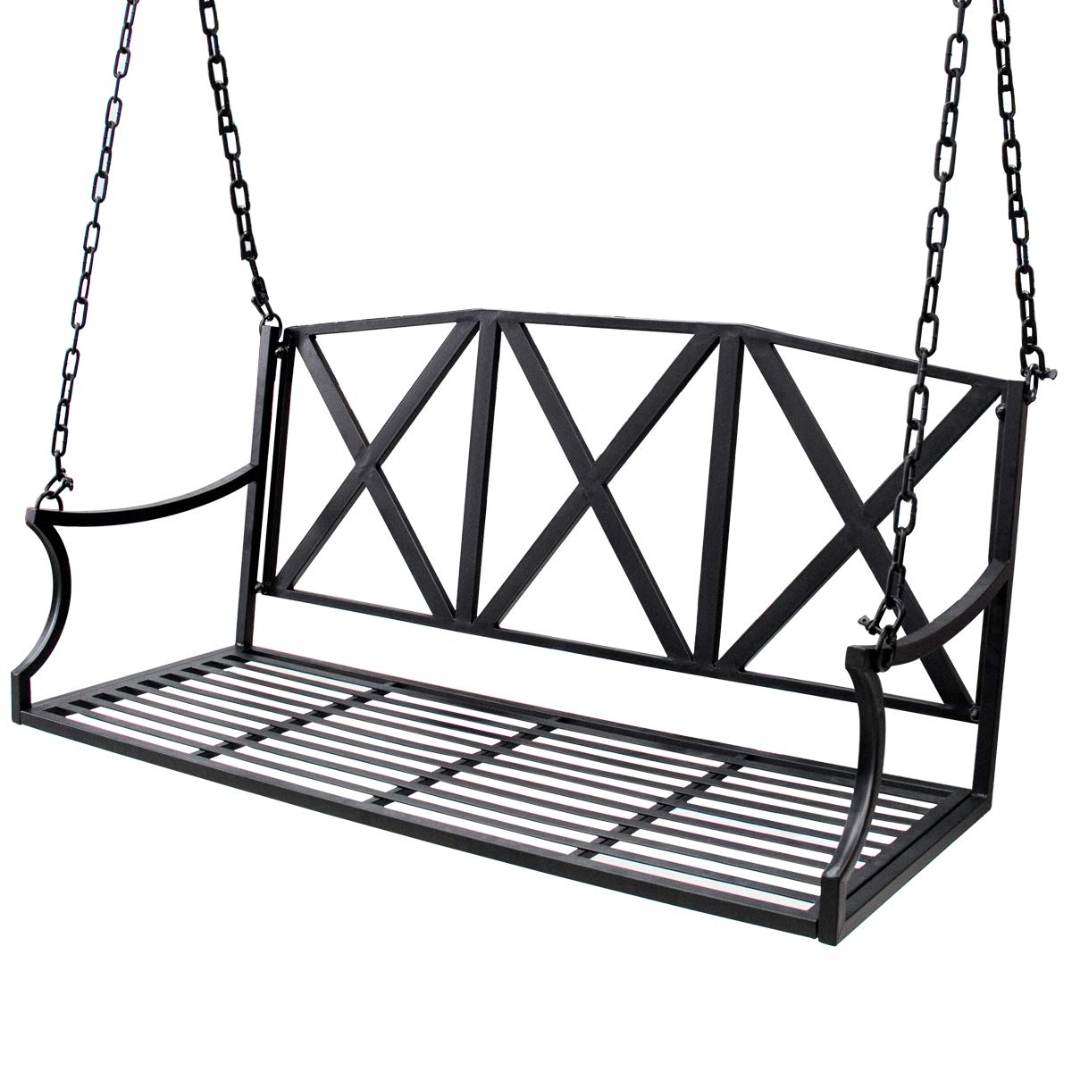 Bizzoelife Hanging Patio Porch Swing Bench Metal Swing Chair with Iron Chains for Yard Garden Lawn (4ft, Black) by Bizzoelife