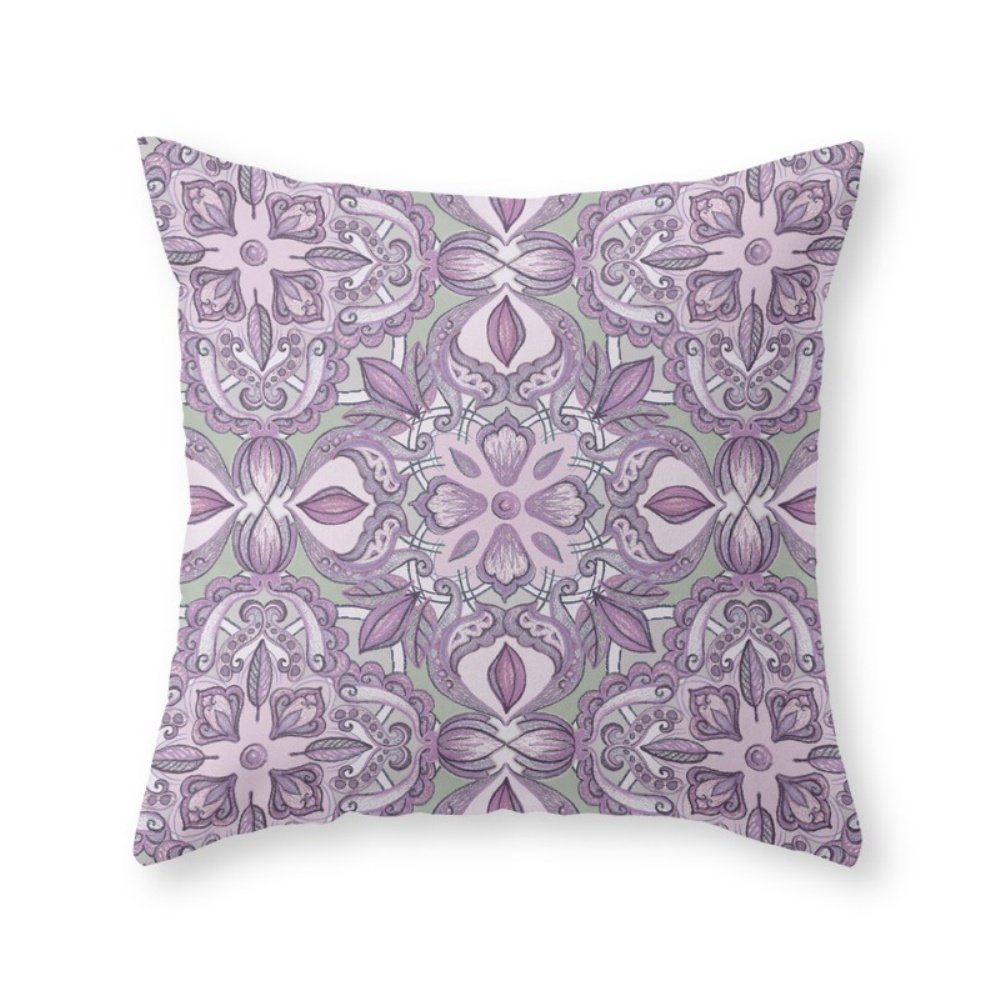 not include insert Colored Crayon Floral Pattern 16 x 16 Throw Pillow Indoor Cover Roses Garden Lavender /& Grey