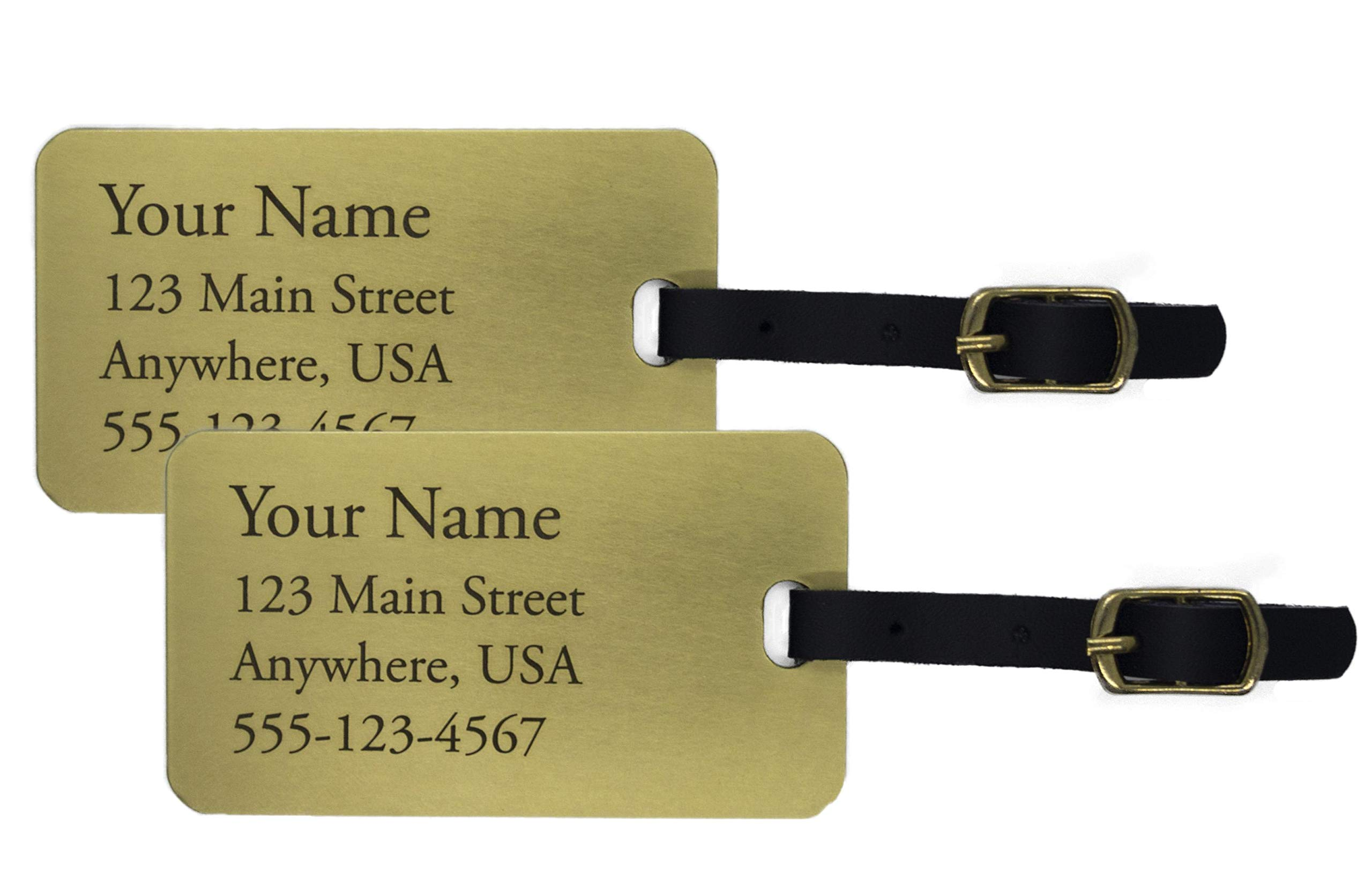 Two Deeply Engraved Jumbo Brass Luggage Tags by Unknown