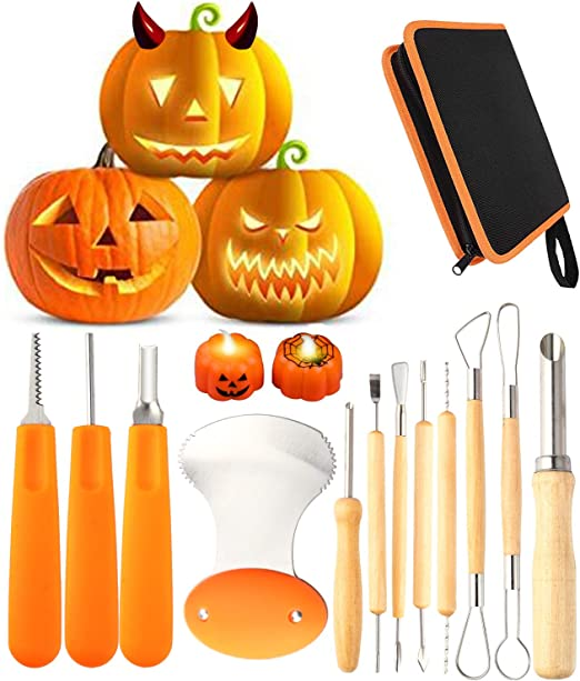 Halloween Professional Pumpkin Carving Tool Kit Stainless Steel Cutting Supplies Sturdy Sculpting Set 5 pieces with 10 Stencils Orange