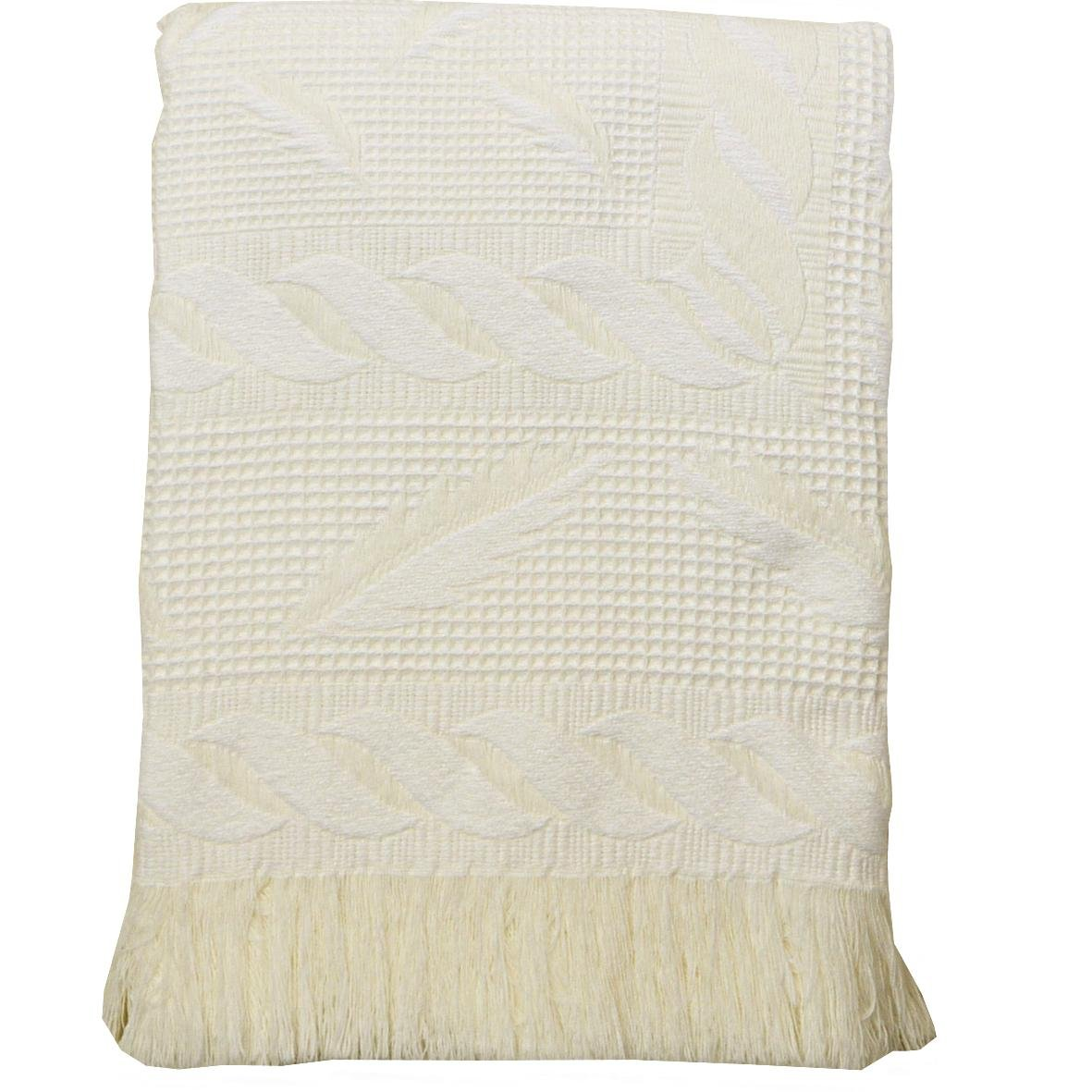 BabyPrem Baby Large Soft Acrylic Fern Shawl Blanket 122 x 122cm WHITE