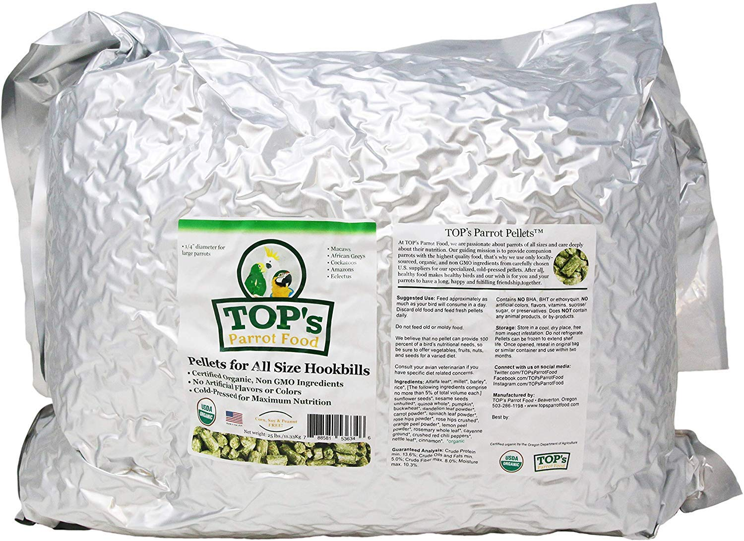 TOP's Parrot Food Pellets Hookbills, Small, Medium and Large Parrots - USDA Organic Certified - 25 lb / 11.33 kg by TOP's Parrot Food