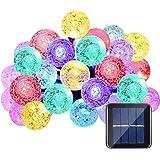 Qedertek Luci Solare da Esterno 6M 30 LED con Palline Trasparenti Luce Led Decorazione per Giardino Catene Luminose Solare Illuminazione Led con 8 Modalità per Esterno Terrazza Balcone (Multi-Colore)
