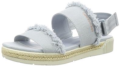 Calvin Klein Jeans Damen Muriel Fringe Canvas Offene Sandalen mit Keilabsatz